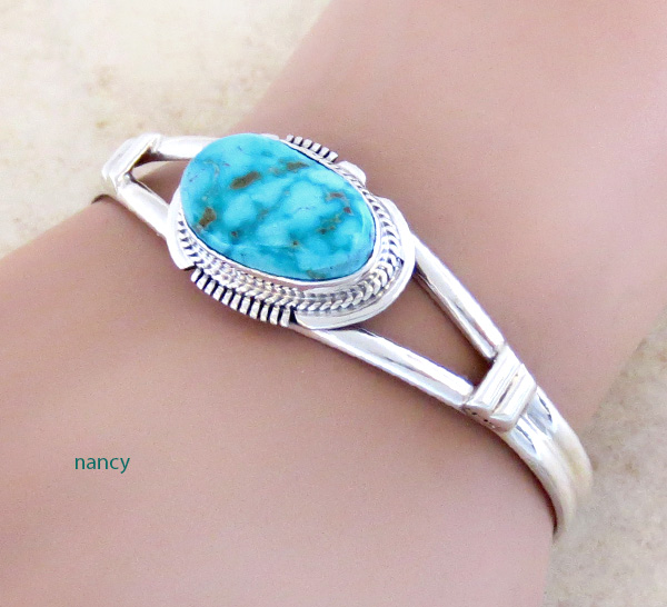Image 1 of         Turquoise & Sterling Silver Bracelet Native American Jewelry - 3536sn