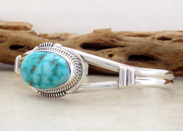 Image 3 of         Turquoise & Sterling Silver Bracelet Native American Jewelry - 3536sn