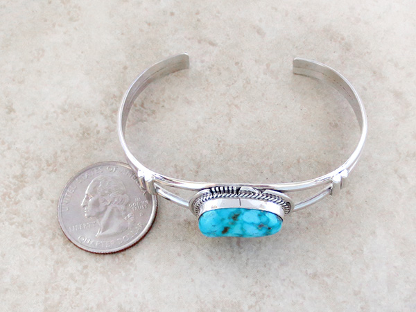 Image 4 of         Turquoise & Sterling Silver Bracelet Native American Jewelry - 3536sn