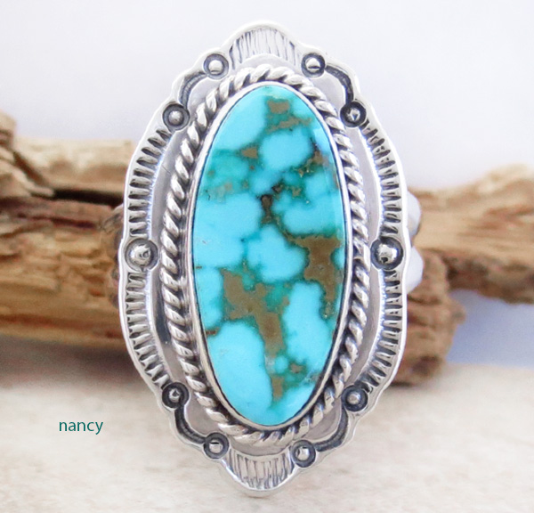 Turquoise Mountain Turquoise & Sterling Silver Ring Size 7 Navajo - 2956sn