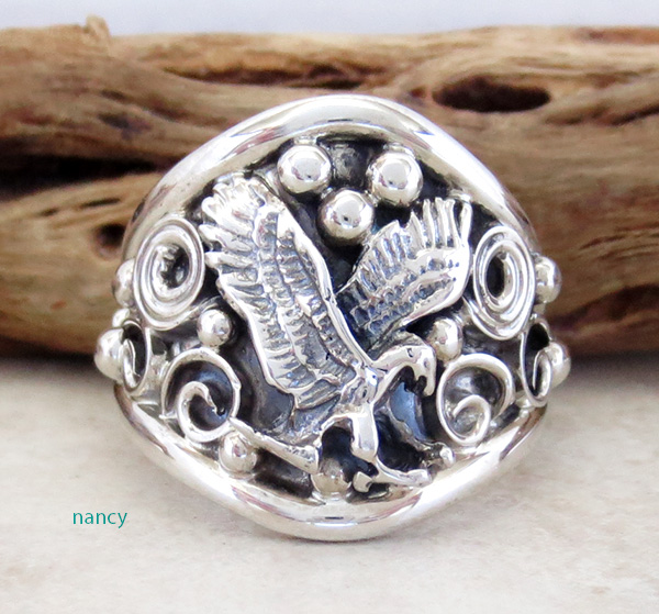 Classic Sterling Silver Eagle Band Ring Size 10.5 Navajo Made - 3452at