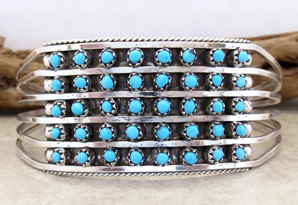 Image 0 of Turquoise Row & Sterling Silver Bracelet Zuni Made - 2958rb