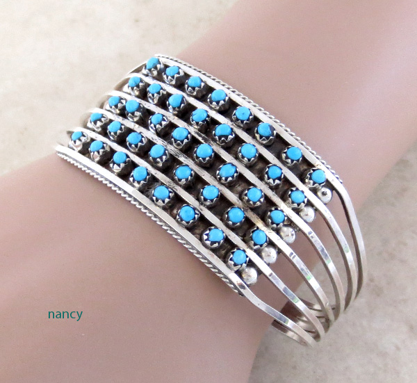Image 1 of Turquoise Row & Sterling Silver Bracelet Zuni Made - 2958rb