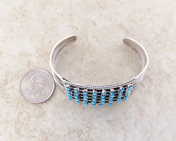 Image 4 of Turquoise Row & Sterling Silver Bracelet Zuni Made - 2958rb