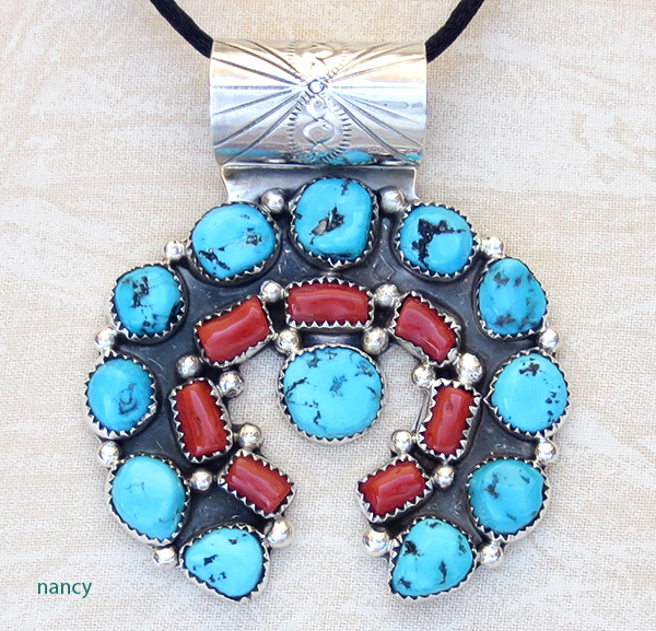 Large turquoise coral sterling silver naja pendant navajo made large turquoise coral sterling silver naja pendant navajo made 3541rb aloadofball Images