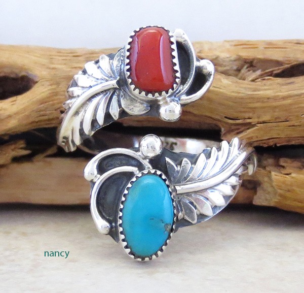Image 0 of Turquoise Coral & Sterling Silver Adjustable Wrap Ring Navajo - 2083rb