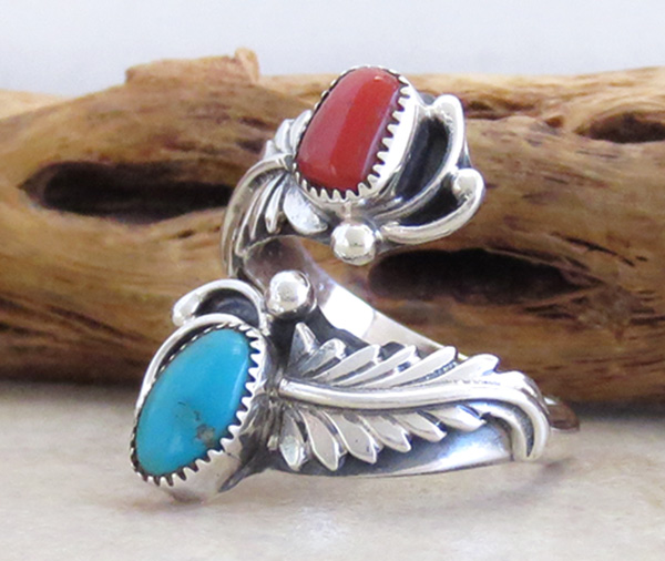 Image 2 of Turquoise Coral & Sterling Silver Adjustable Wrap Ring Navajo - 2083rb