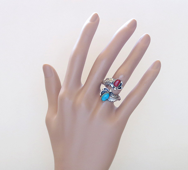 Image 4 of Turquoise Coral & Sterling Silver Adjustable Wrap Ring Navajo - 2083rb