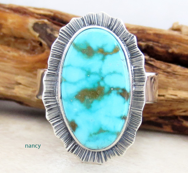 Turquoise Mountain Turquoise & Sterling Silver Ring Size 7.75 - 3548sn