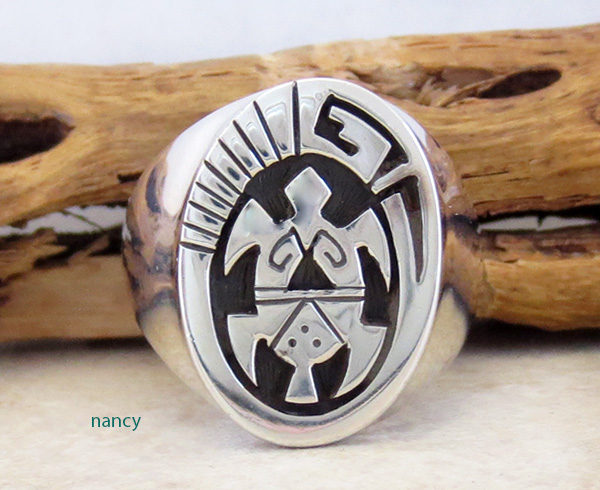 Image 0 of   Sterling Silver Overlay Turtle Ring Size 10.75 Navajo Jewelry - 3603rb