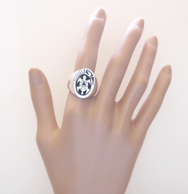 Image 5 of   Sterling Silver Overlay Turtle Ring Size 10.75 Navajo Jewelry - 3603rb