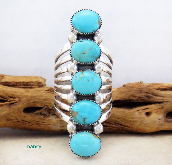 Navajo Made Big Multi Turquoise Stone & Sterling Silver Ring Size 9 - 3237rb