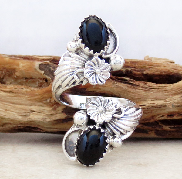 Navajo Made Black Onyx & Sterling Silver Wrap Ring - 3605rb