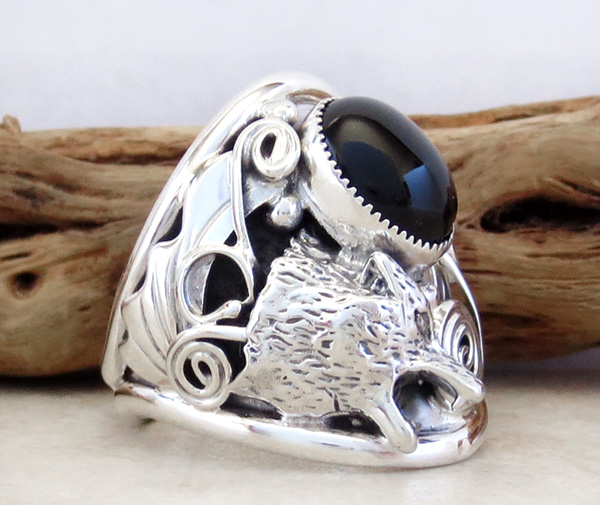 Image 1 of    Black Onyx & Sterling Silver Wolf Ring Size 11 Native American - 3241rb