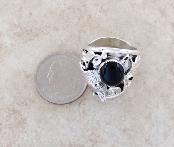 Image 3 of    Black Onyx & Sterling Silver Wolf Ring Size 11 Native American - 3241rb