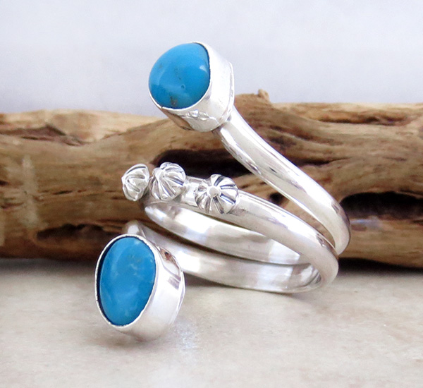 Image 1 of    Turquoise & sterling Silver Ring Size 9 Navajo Made Jewelry - 3553rb