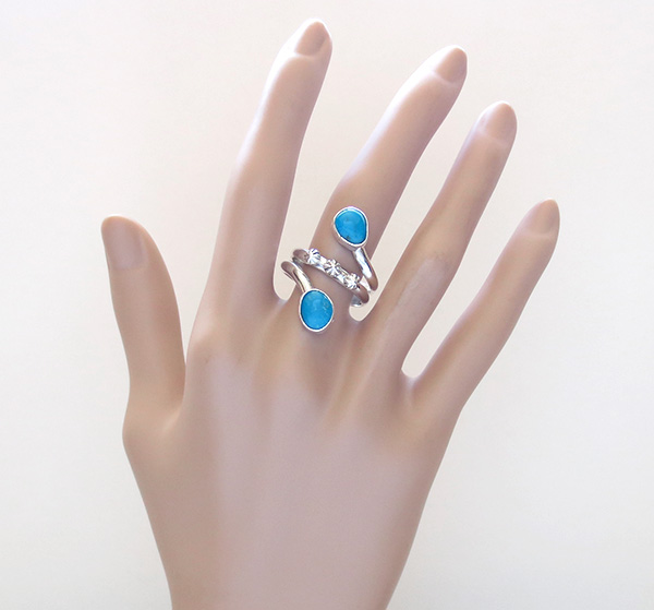 Image 5 of    Turquoise & sterling Silver Ring Size 9 Navajo Made Jewelry - 3553rb