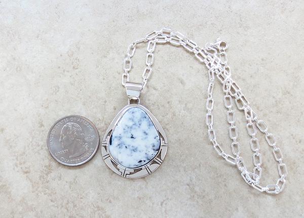 Image 1 of      Large White Buffalo Stone & Sterling Silver Pendant Philip Sanchez - 3607sn