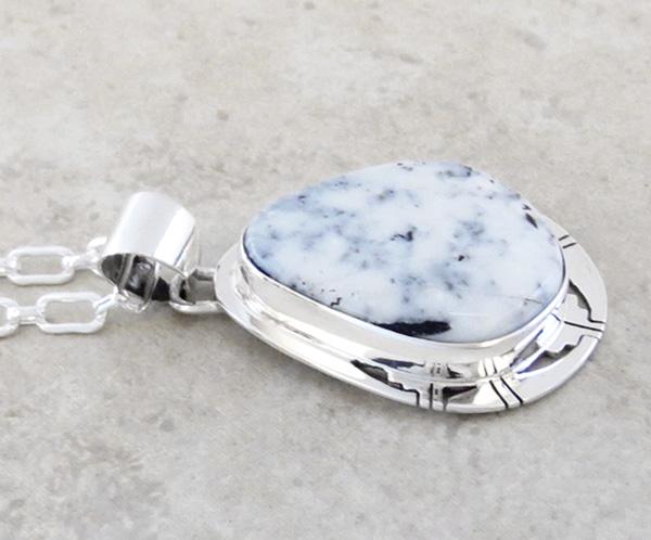 Image 3 of      Large White Buffalo Stone & Sterling Silver Pendant Philip Sanchez - 3607sn