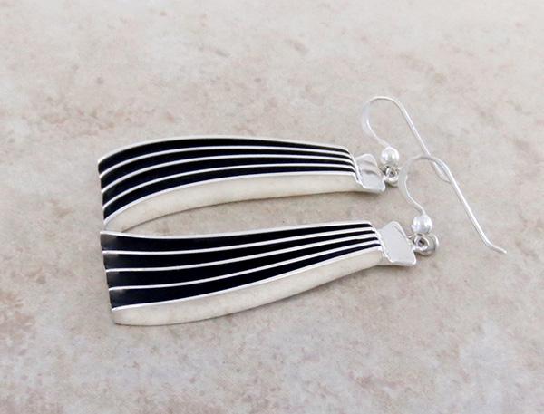 Image 2 of  Large Sterling Silver & Black Earrings Navajo James Bahe - 3547rb