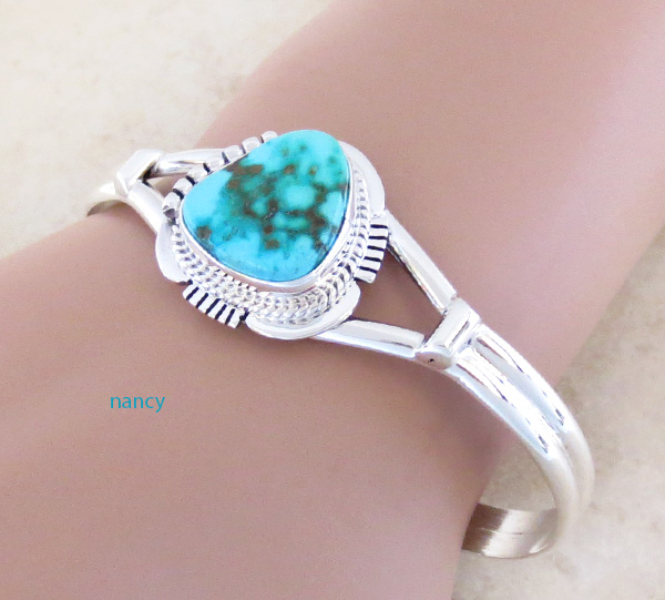 Image 1 of     Turquoise & Sterling Silver Bracelet Native American Jewelry - 2593sn