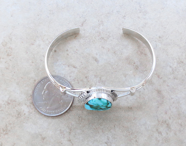 Image 4 of     Turquoise & Sterling Silver Bracelet Native American Jewelry - 2593sn