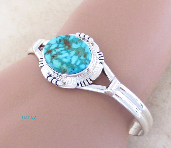 Image 1 of     Turquoise Mountain Turquoise & Sterling Silver Bracelet John Nelson - 3289sn