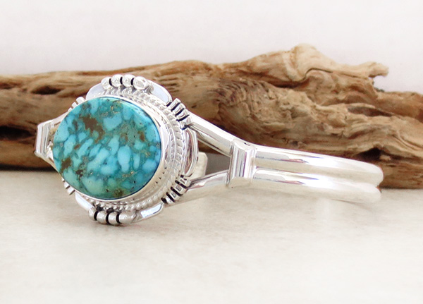 Image 3 of     Turquoise Mountain Turquoise & Sterling Silver Bracelet John Nelson - 3289sn