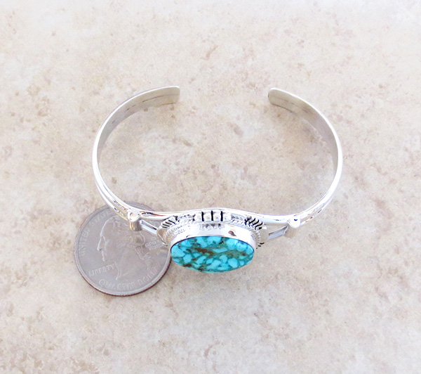 Image 4 of     Turquoise Mountain Turquoise & Sterling Silver Bracelet John Nelson - 3289sn