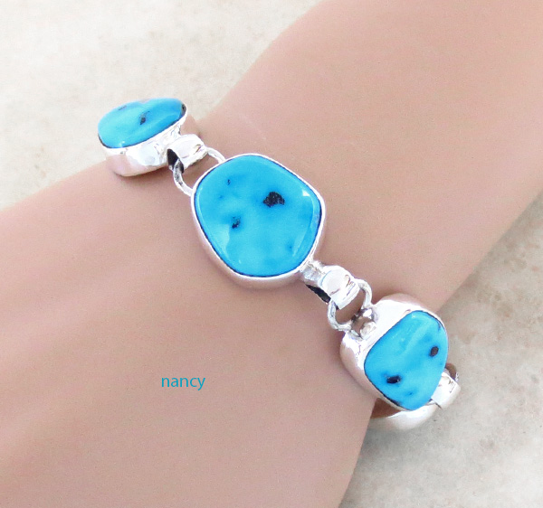 Image 0 of   Sleeping Beauty Turquoise & Sterling Silver Link Bracelet Navajo Made - 3708sn