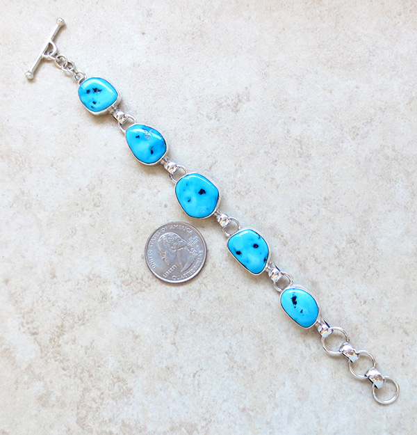 Image 1 of   Sleeping Beauty Turquoise & Sterling Silver Link Bracelet Navajo Made - 3708sn