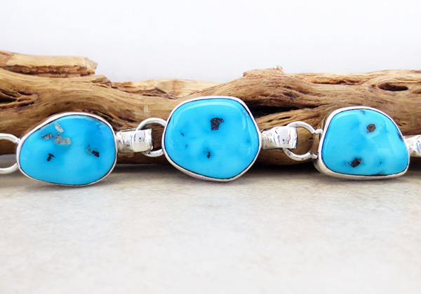 Image 2 of   Sleeping Beauty Turquoise & Sterling Silver Link Bracelet Navajo Made - 3708sn