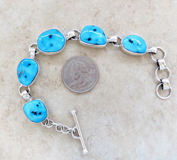 Image 3 of   Sleeping Beauty Turquoise & Sterling Silver Link Bracelet Navajo Made - 3708sn