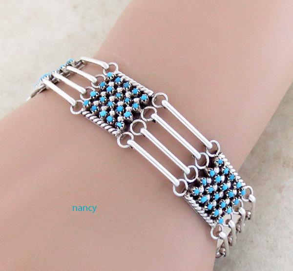 Snake Eye Turquoise & Sterling Silver Link Bracelet  Zuni - 3706rio