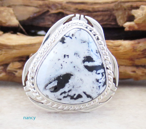 Navajo White Buffalo Stone & Sterling Silver Ring Size 6 - 3614sn