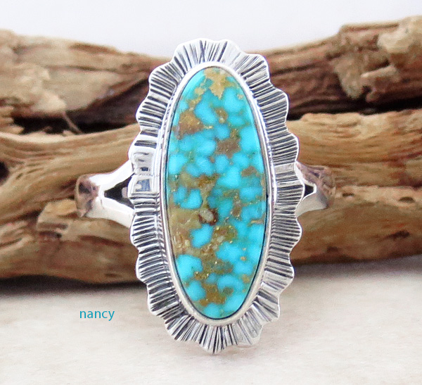Image 0 of       Native American Turquoise & Sterling Silver Ring Size 6 - 2962sn