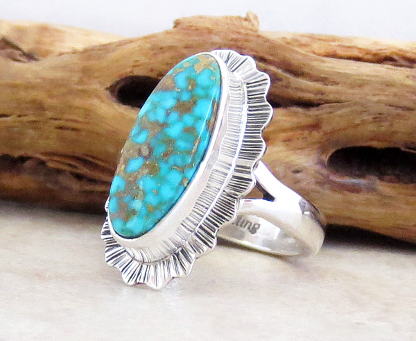 Image 2 of       Native American Turquoise & Sterling Silver Ring Size 6 - 2962sn