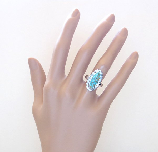 Image 5 of       Native American Turquoise & Sterling Silver Ring Size 6 - 2962sn