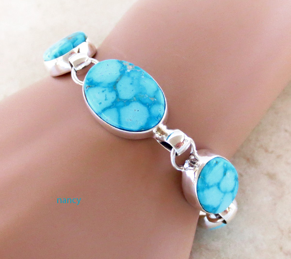 Image 0 of  Turquoise & Sterling Silver Link Toggle Bracelet Lyle Piaso Navajo - 2864sn