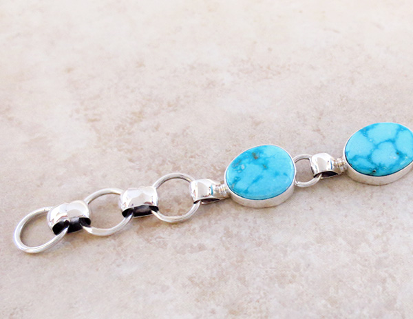 Image 3 of  Turquoise & Sterling Silver Link Toggle Bracelet Lyle Piaso Navajo - 2864sn