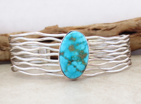 Image 1 of       Turquoise & Sterling Silver Bracelet Native American Jewelry - 3615sn