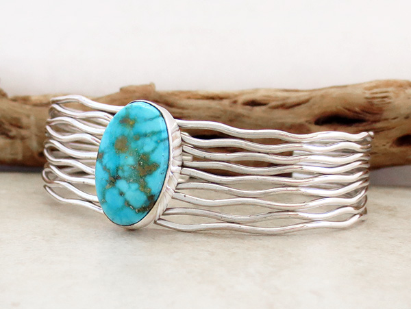 Image 3 of       Turquoise & Sterling Silver Bracelet Native American Jewelry - 3615sn
