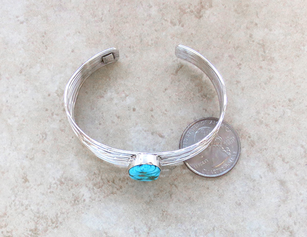 Image 4 of       Turquoise & Sterling Silver Bracelet Native American Jewelry - 3615sn