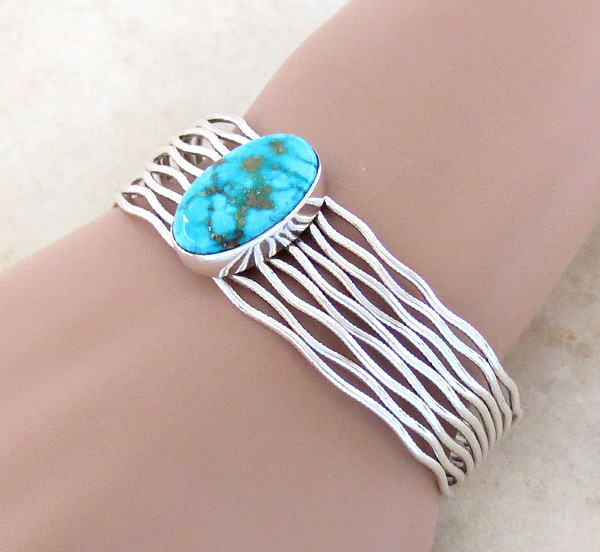 Turquoise & Sterling Silver Bracelet Native American Jewelry - 3615sn