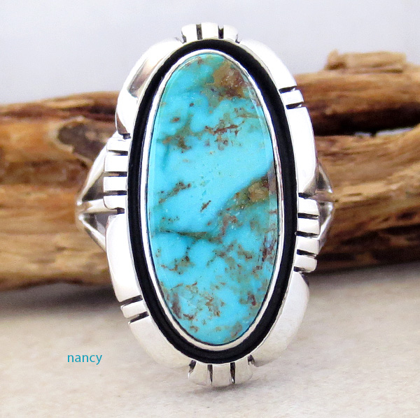 Turquoise Mountain Turquoise & Sterling Silver Ring Size 9.5 Navajo - 2084sn