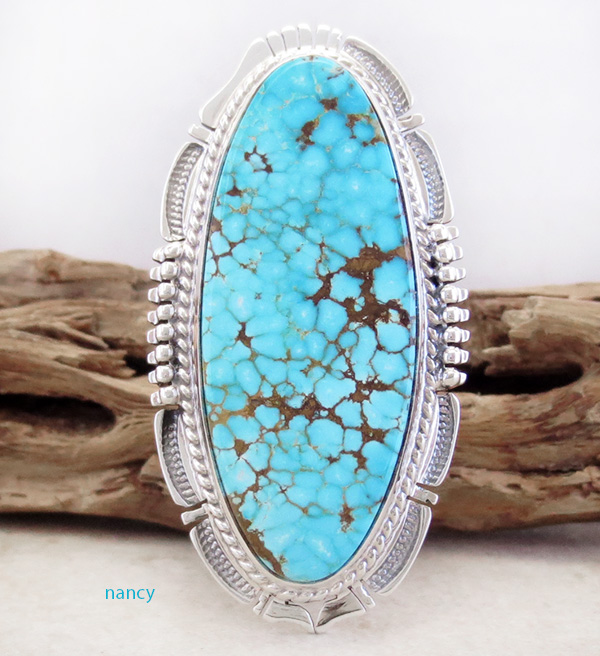Bennie Ration #8 Mine Turquoise & Sterling Silver Ring Size 9.5 - 3712br