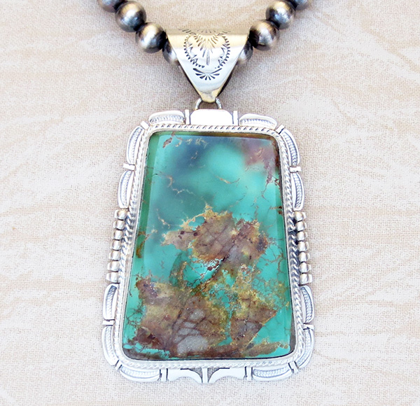 Big Royston Turquoise Sterling Silver Pendant & Desert Pearl Necklace - 3617br
