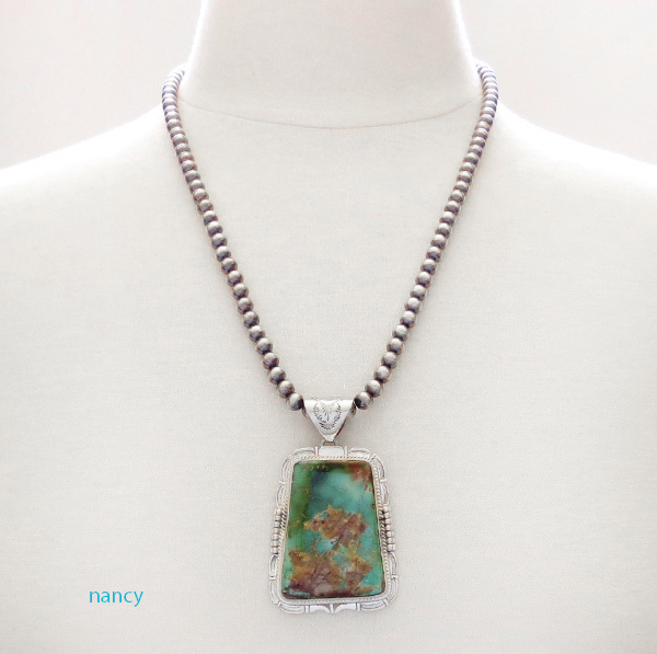 Image 1 of Huge Royston Turquoise Sterling Silver Pendant & Desert Pearl Necklace - 3617br