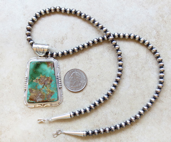 Image 2 of Huge Royston Turquoise Sterling Silver Pendant & Desert Pearl Necklace - 3617br