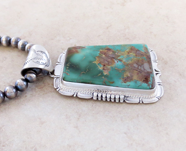 Image 3 of Huge Royston Turquoise Sterling Silver Pendant & Desert Pearl Necklace - 3617br